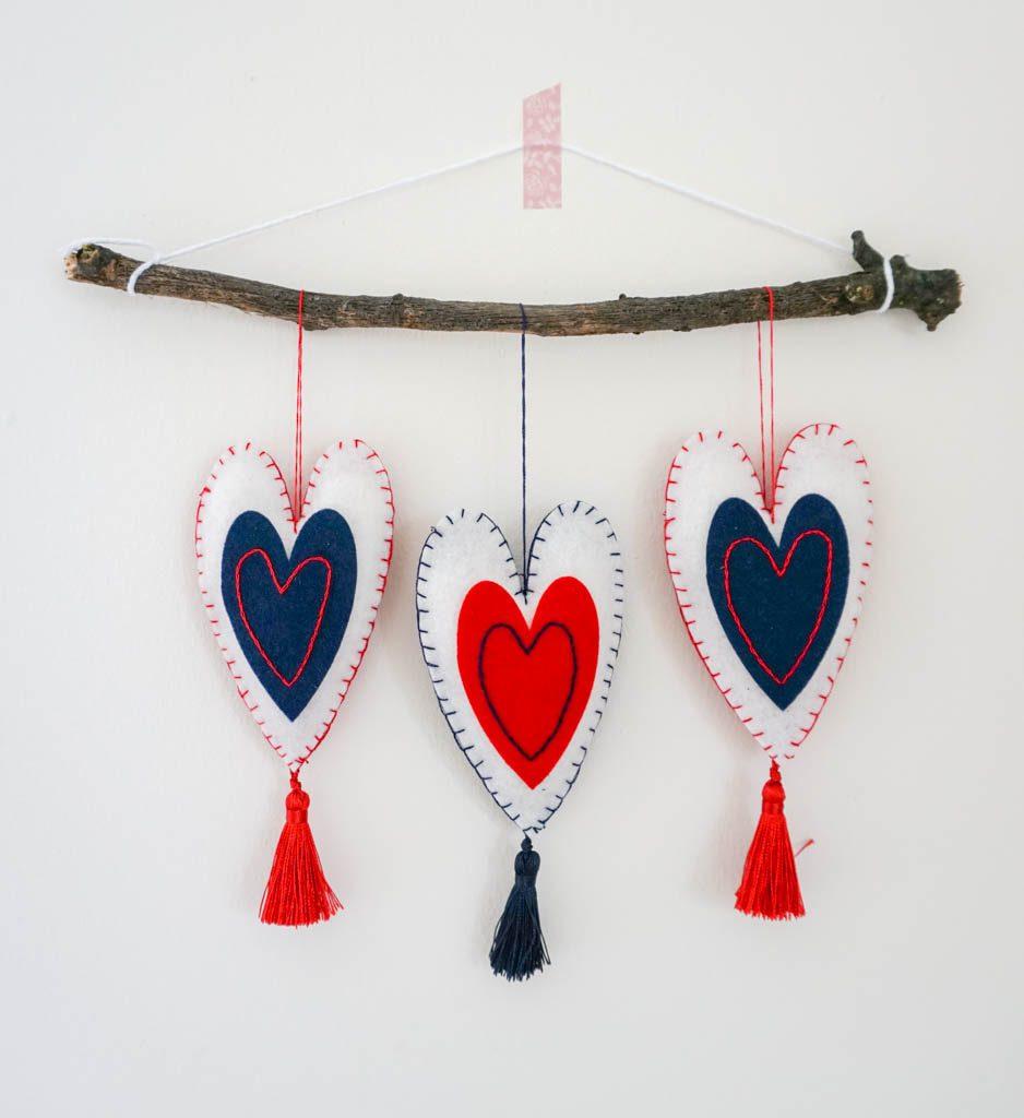 Patriotic Felt Heart Ornaments