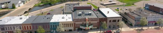 Aerial view of Superior Street Albion Mich including Bohm Theatre