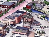 This closeup shows 101 N. Superior St. in the upper left corner, and the Coca Cola mural in the upper right. It also shows a large grain elevator that was behind the Bohm Theatre in 1985. And a car dealership building in the foreground.