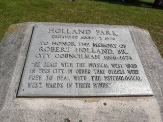 Holland Park has a monument to local civil rights activist Robert Holland.