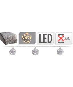 10 LED LAMPJES BAL METAAL 40MM WIT EN EN 2 AA BATTERIJEN EXCLUSIEF