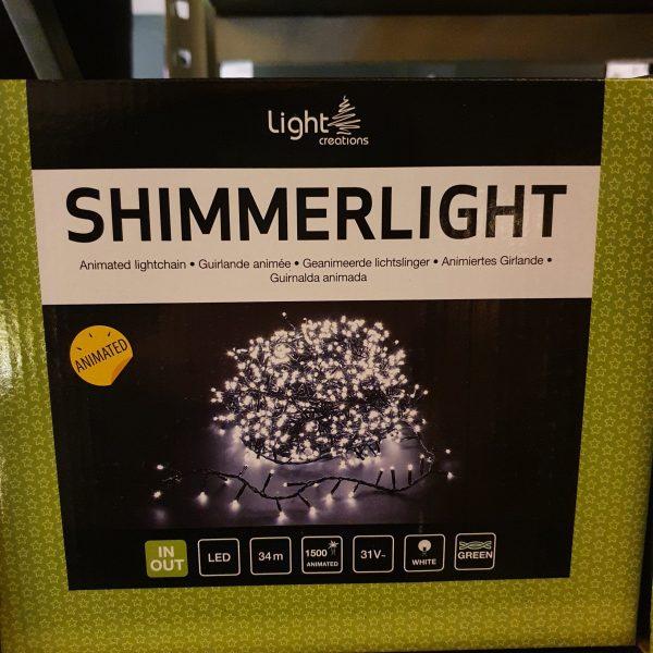 SHIMMERLIGHT 34 METER GROENE DRAAD - 1500 LED LAMPJES WIT 15W