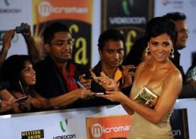Indian Bollywood actress Lara Dutta sign