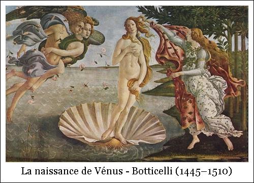La naissance de Vénus – Botticelli (1445–1510)