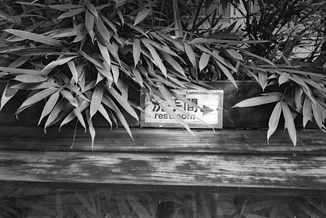 Warning: concealed restroom - Kodak BW400CN shot at ISO400. Black and white negative film in 35mm format.