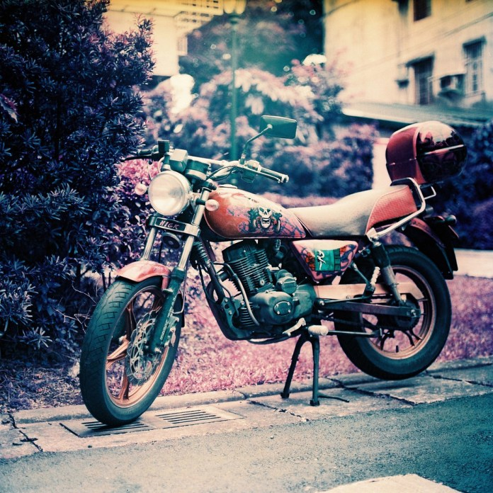 Between adventures - Lomochrome Purple XR100-400 shot at EI 400. Color negative film in 120 format shot as 6x6.