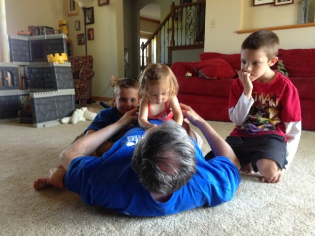 Playing with Grandpops + Cousins