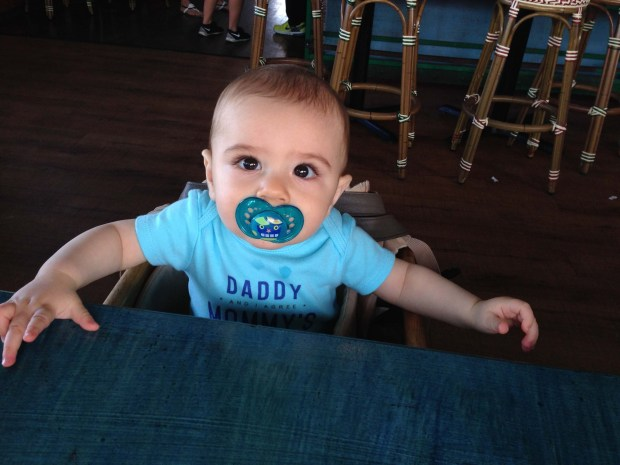 Baby Boy in a restaurant high chair for the first time!