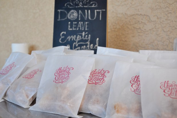 Donut Leave Empty Handed! Donut hole thank you take home bags.
