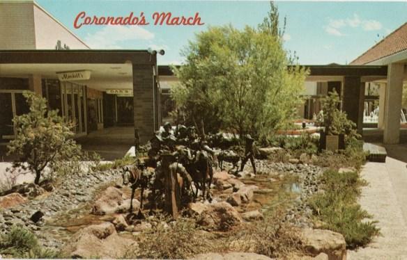 Sculpture at Coronado Shopping Center c.1964 depicting Coronado's march.