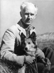 Photo of Ernie Pyle and dog in Albuquerque