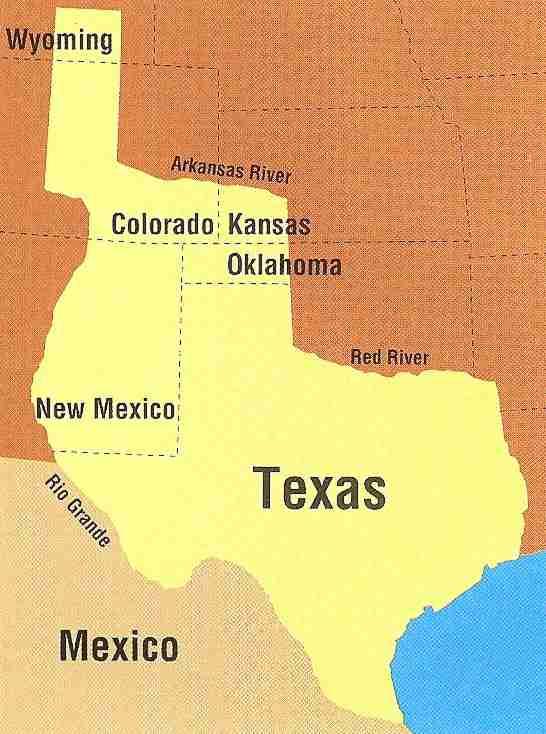 Map Of Texas New Mexico And Colorado.Theoretical Texas Boundary In New Mexico Albuquerque Historical