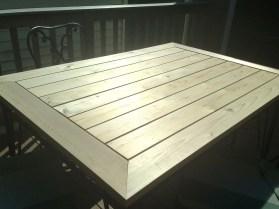 Cedar table, sanded