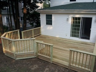 Pressure treated deck with octagonal tier
