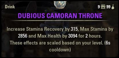 Dubious Camoran Throne buff food Stamina Sorcerer Build for ESO PvE