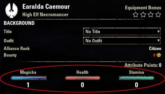 Magicka Necromancer Attributes