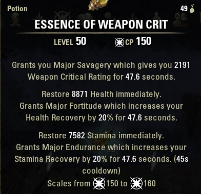 essence of weapon crit potion