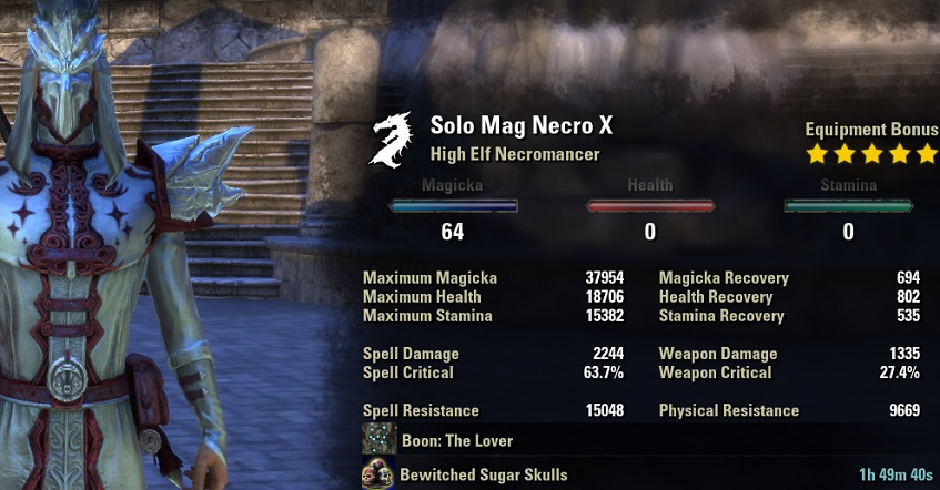 Solo Magicka Necromancer Build PvE unbuffed stats ESO