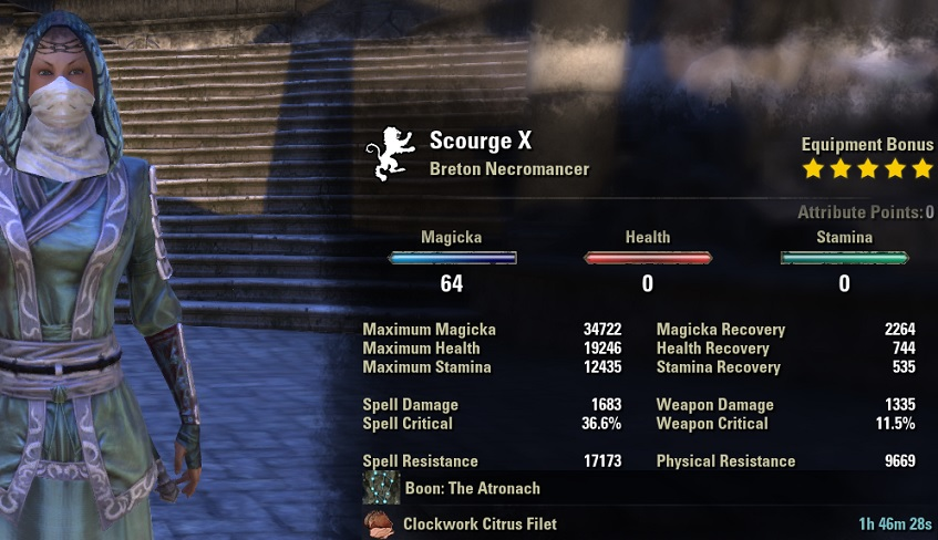 Magicka Necromancer HEALER Build unbuffed stats ESO