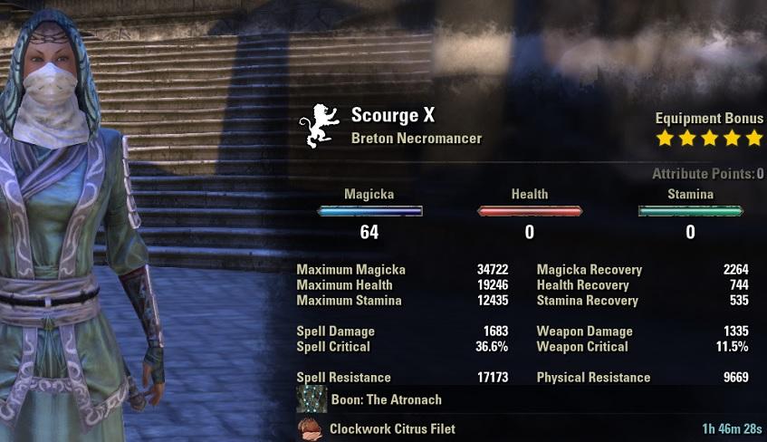 Magicka Necromancer HEALER Build unbuffed stats ESO