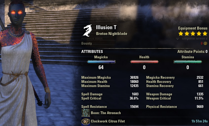 Magicka Nightblade Healer Build unbuffed stats ESO