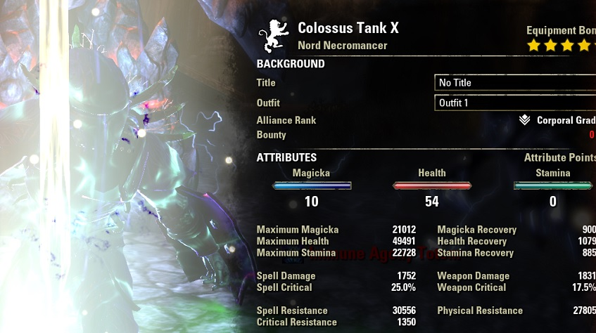 Necromancer Tank Build PvE buffed stats ESO