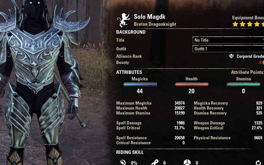 Solo Magicka Dragonknight stats unbuffed