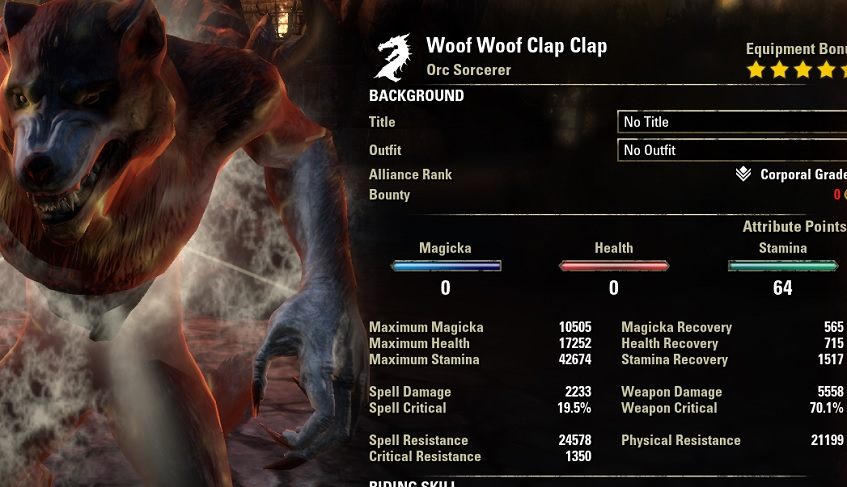 Werewolf pve build dps all classes buffed werewolf stats ESO