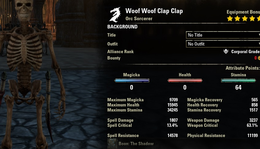 Werewolf pve build dps all classes unbuffed human stats ESO