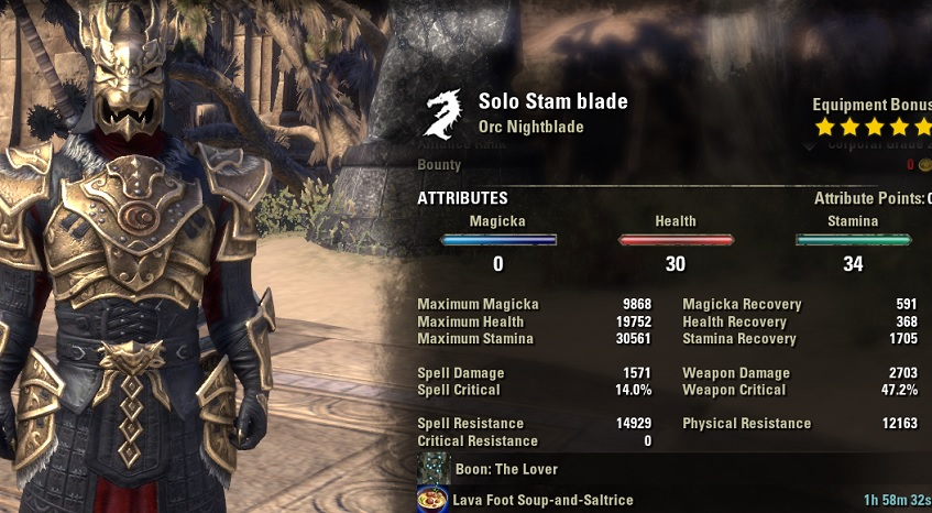 Solo Stamina Nightblade PvE Build unbuffed stats 1