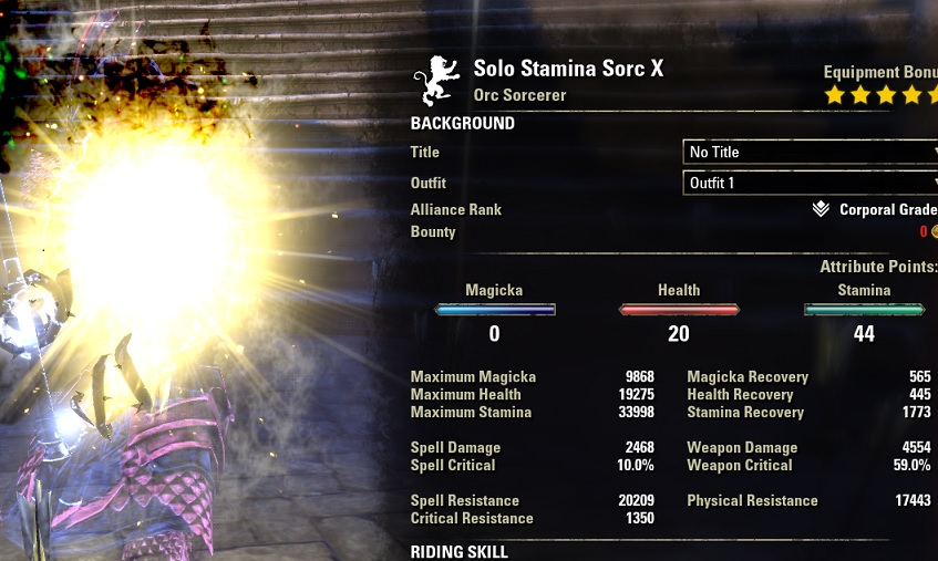 Solo Stamina Sorcerer build pve buffed stats ESO