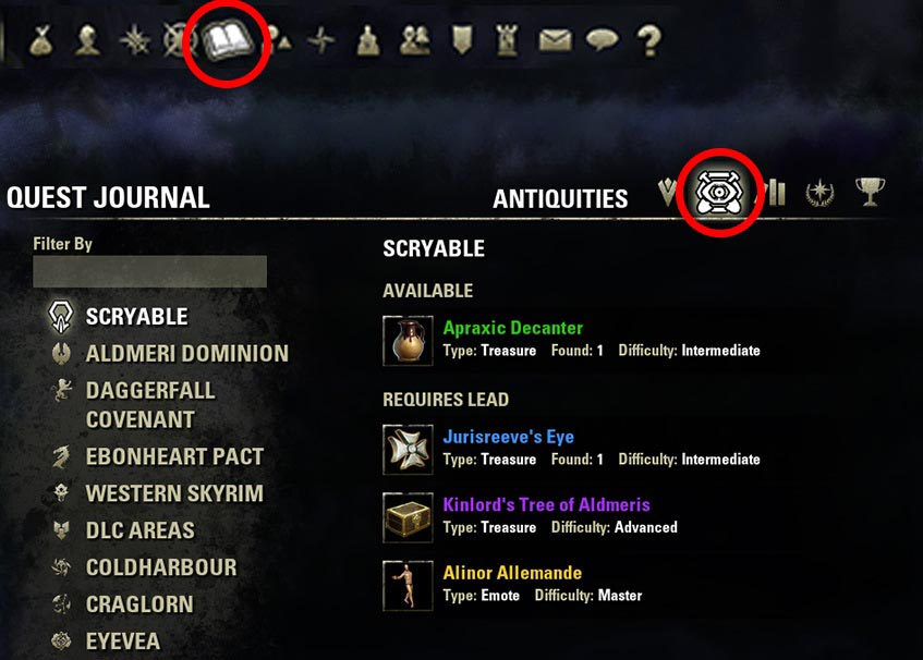 1 Antiquities Lead Location Account wide ESO