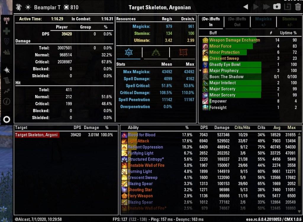 Magicka Templar 39420 DPS Test