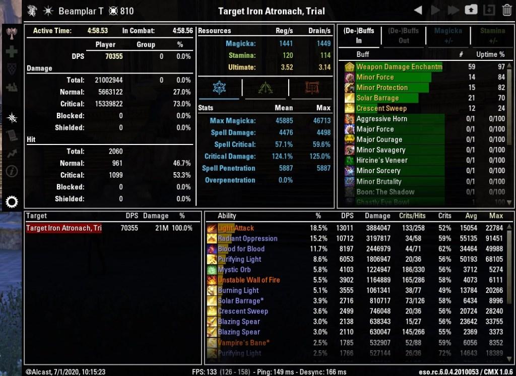 Magicka Templar 70355 DPS Test