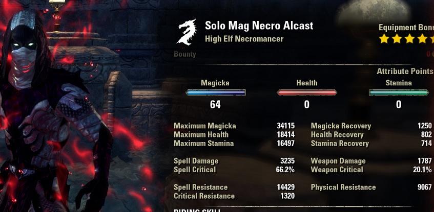 Solo Magicka Necromancer buffed stats ESO