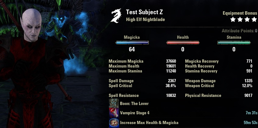 Vampire Nightblade build pve unbuffed stats ESO1