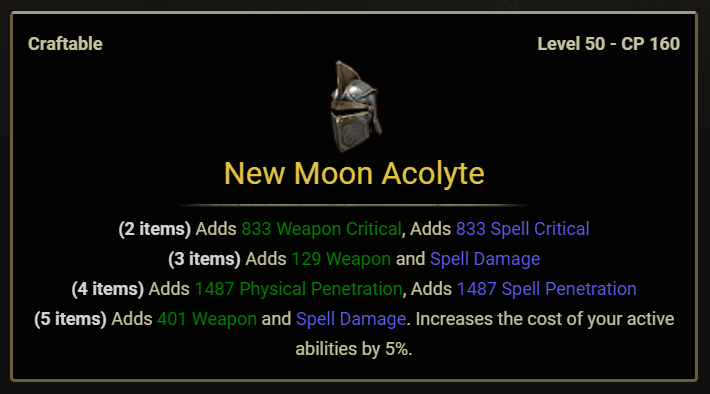 New Moon Acolyte Set Image with all stats for ESO