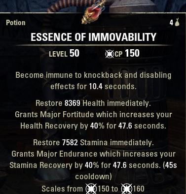 Essence of Immovability Knockback CC HPStam Potion new ESO