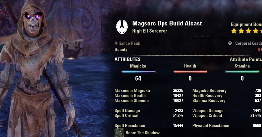 Magicka Sorcerer Build with Pet Character screenshot unbuffed ingame, Sorcerer Build ESO.