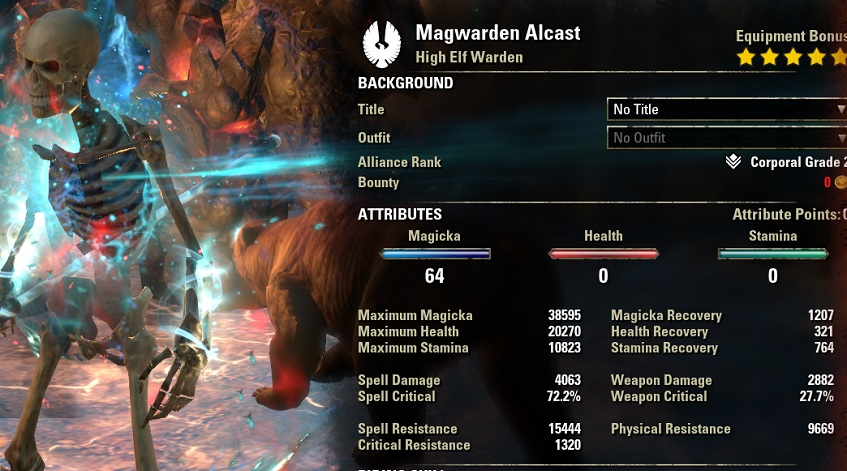 Magicka Warden DPS PvE Build buffed stats ESO