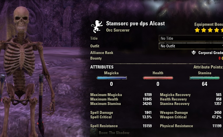 Stamina Sorcerer pve dps build unbuffed stats ESO
