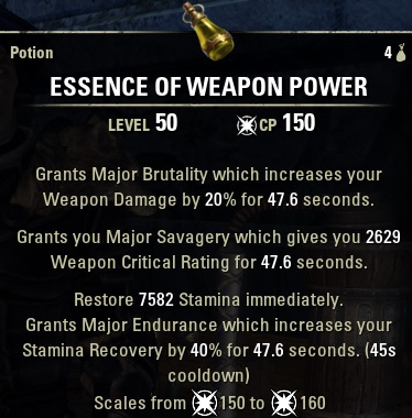 Essence of Weapon Power Potion new ESO