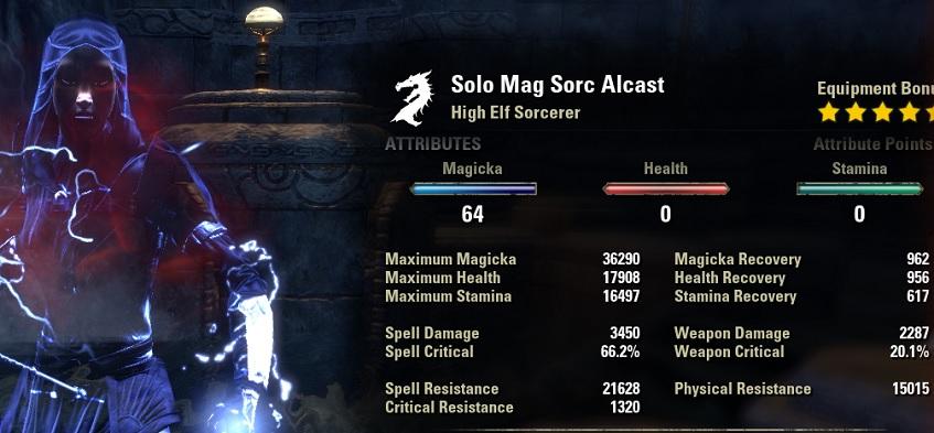 Solo Magicka Sorcerer Build buffed Stats ESO
