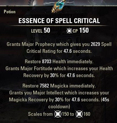 Essence of Spell Critical Potion CRITHPMAG ESO
