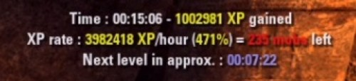 EXP grind per hour example