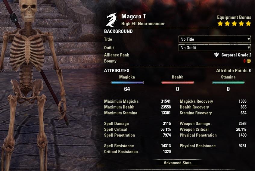 Magicka Necromancer DPS build Curse unbuffed stats ESO