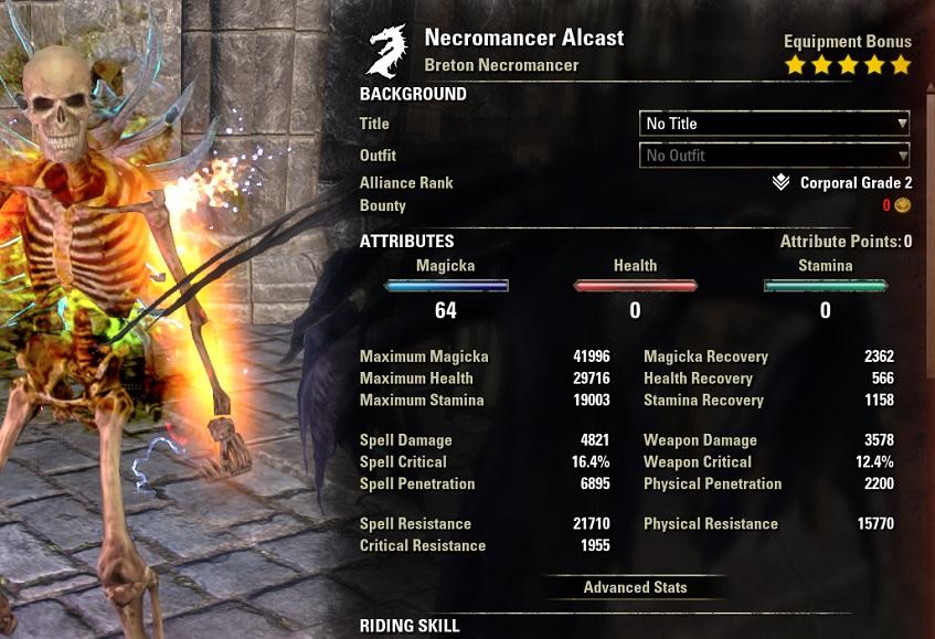 Magicka Necromancer PvP Build buffed stats ESO30