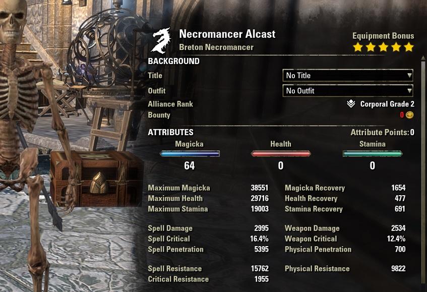 Magicka Necromancer PvP Build unbuffed stats ESO30