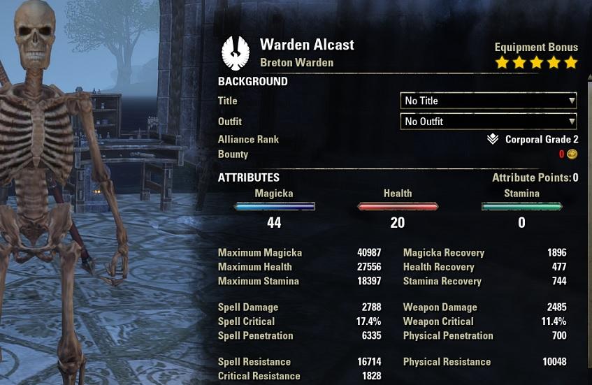 Magicka Warden PVP Build unbuffed stats ESO30