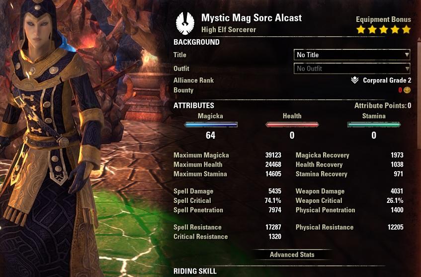 Mystic Magicka Sorcerer PvE Build buffed stats NONpet setup ESO